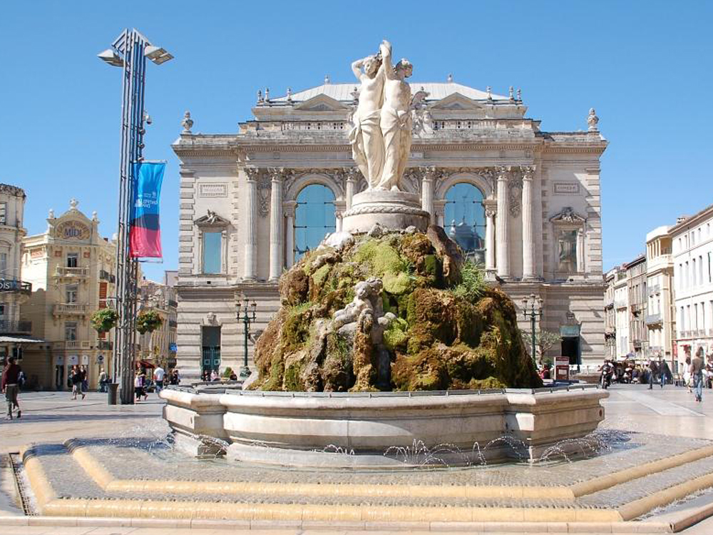 The Three Graces Fountain In Montpellier